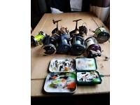 Fishing reels and boat engine