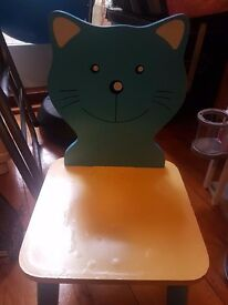 Great little toddler chair wooden with cat feature