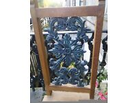 2 chairs, wooden, high-back, dining, integral metal inset design on back rest. Unusual.