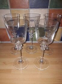 5x crystal glasses/goblets, as new