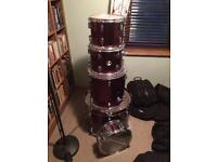 Sonor force 507 with cymbals, hardware and soft cases.