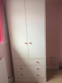 White 2 door wardrobe with drawers