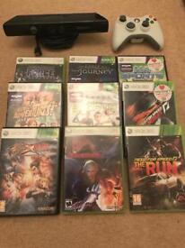 Assorted Xbox 360 games and accessories.