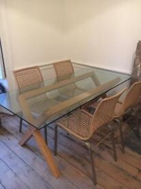Modern Glass dining table and four chairs