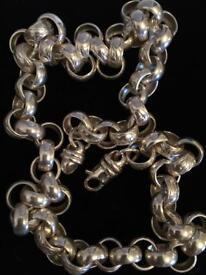 "Men's 925 sterling silver belcher hip hop bling chain 24 "" 120g"