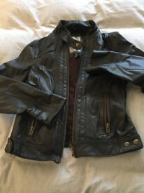 Brown leather jacket by Mango, very new, size L but is a small L