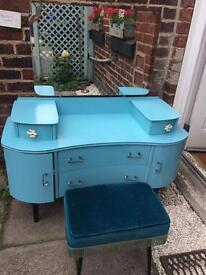 Blue dressing table C1950 1960 drawers stool