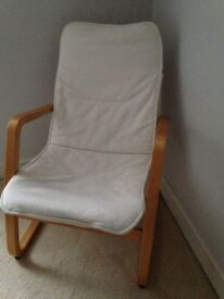 IKEA PÖANG Oak Veneer Chair Frame & Finnsta/White Cushion BARGAIN