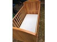 Wooden mothercare cotbed - plus mattress if required