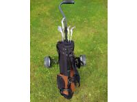 Children's golf trolley and bag.