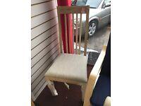Slatted light oak chairs