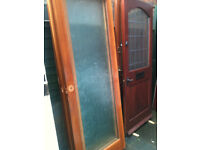 Interior doors with large patterned glass panels (5 doors)
