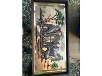 Vintage African Copper Wall Art 3D Wide Panoramic from Zimbabwe