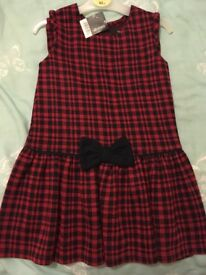 Girls red + navy dress