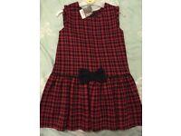 Girls red + navy dress