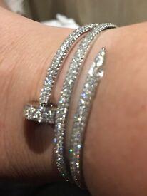 Cartier style nail bangle diamonds