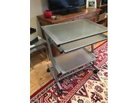 Small computer desk on wheels. JOHN LEWIS glass/chrome THREE shelves, two pull out RRP £199