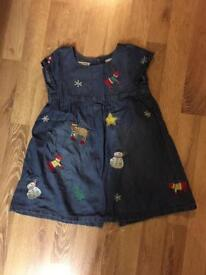 Next denim Christmas dress age 4-5 yrs