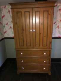 Lovely solid wood double wardrobe, three large drawers and half length hanging space