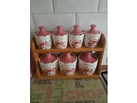 Cupcake print spice set with wooden holder