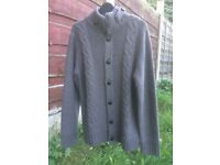Mens NEXT grey thick knitted funnel neck button up cardigan - size M. PRICE INCLUDES DELIVERY