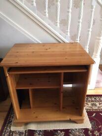 Unique Solid Honey Pine Computer Desk Home Office Excellent Condition PRICE DROP - MUST GO
