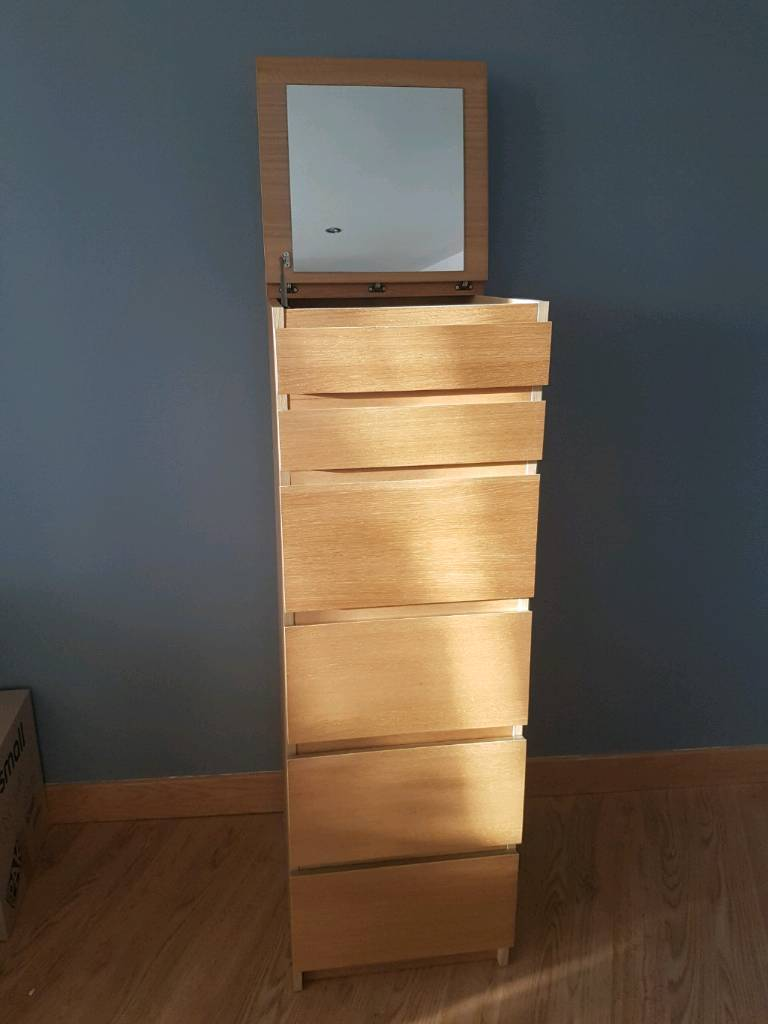 Ikea Malm Tall Chest Of Drawers With Pop Up Mirror