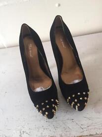 Black ladies studded shoes