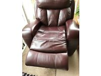 Leather mannual reclining chair x 2