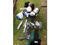 Set of golf clubs,balls,Tee's and adapted motocaddy electric trolley