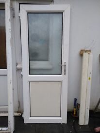 External white PVC door with frosted double glazed window