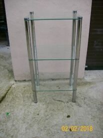 glass three shelf side table