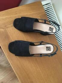 Debenhams Collection Black Suede Sandals Size 6