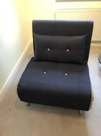 Chair/bed - sofabed in blue denim