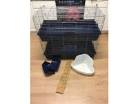 Indoor Double Tier Rabbit Cage, hay feeder and litter tray