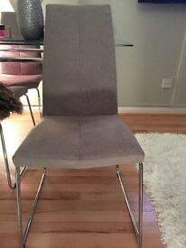 4 grey material dining chairs