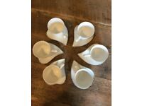 Beautiful White Dynasty Porcelain Heart Espresso Cups and Saucers (Set of 6)