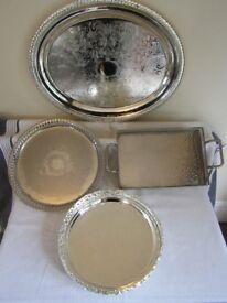 Collection of 4 Silver Plate Serving Trays