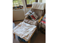 IKEA Poang Armchair (birch) with beige cushion