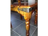 Solid wood large table & 3 chairs