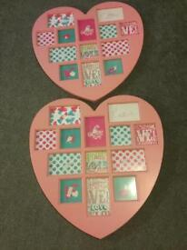 2 ink love heart photo frames