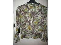PER UNA BLOUSE GREEN/BROWN/BEIGE CRINKLE FLIMSY SIZE 18 WORN ONCE