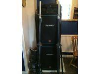 Peavey speakers, pair metal poles, Ka 2401 power amp.pair leads long