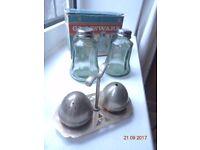 Antique & Retro Salt and Pepper Pots. 1 set silver plated. 1 set with original retro box.