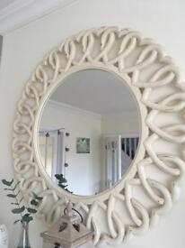 Circle of hearts mirror - large cream