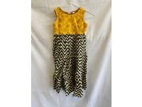 Girls Yellow Zig Zag Print Dress