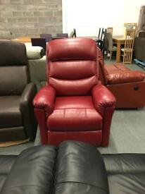 High retail red leather rise and recline chair