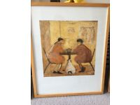 Lovely orangey print of two ladies having coffee and a dog. Very Sam toft