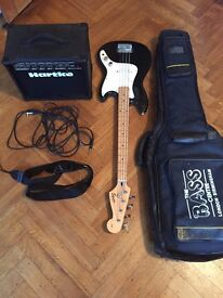 Fender Squier Bronco Bass and Hartke B15 Amp