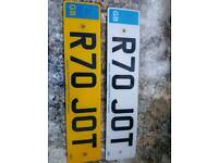 Private number plate R70 JOT